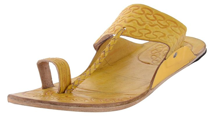 yellow kolhapuris....stylish and comfortable. Goes well with ethnic or modern dresses....