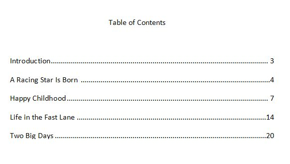 Formatting Tips for Making a Table of Contents: Table of Contents in Microsoft Word