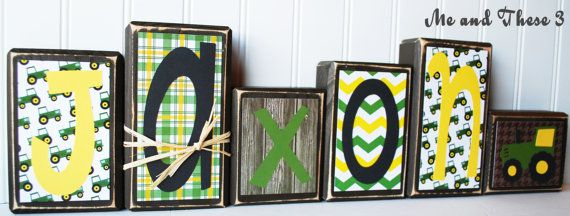 Wood letter name blocks customized with your colors and style-John Deere boy tractor on Etsy, $8.00