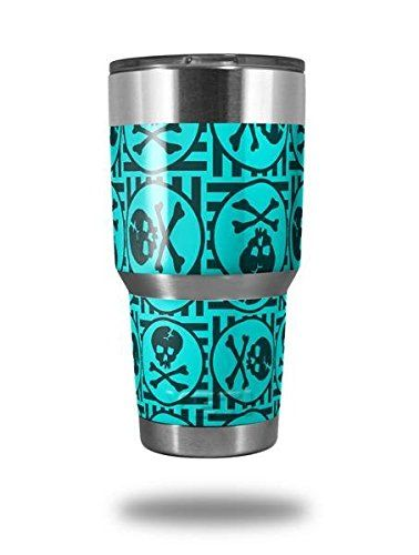 Skull Patch Pattern Blue  Decal Style Skin Wrap fits Yeti Rambler and Walmart Ozark Trail 30oz Tumblers TUMBLER NOT INCLUDED -- Continue to the product at the image link.(This is an Amazon affiliate link and I receive a commission for the sales)