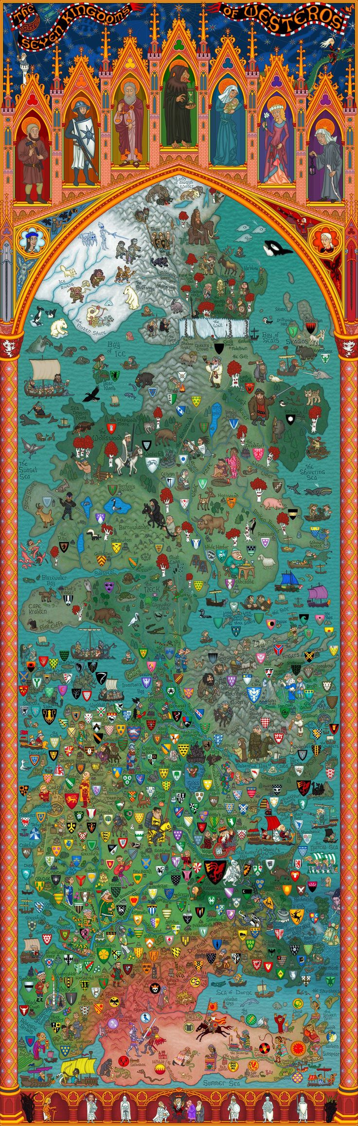 Lovely map of Game Of Thrones' Westeros - nice style and a myriad of crests!