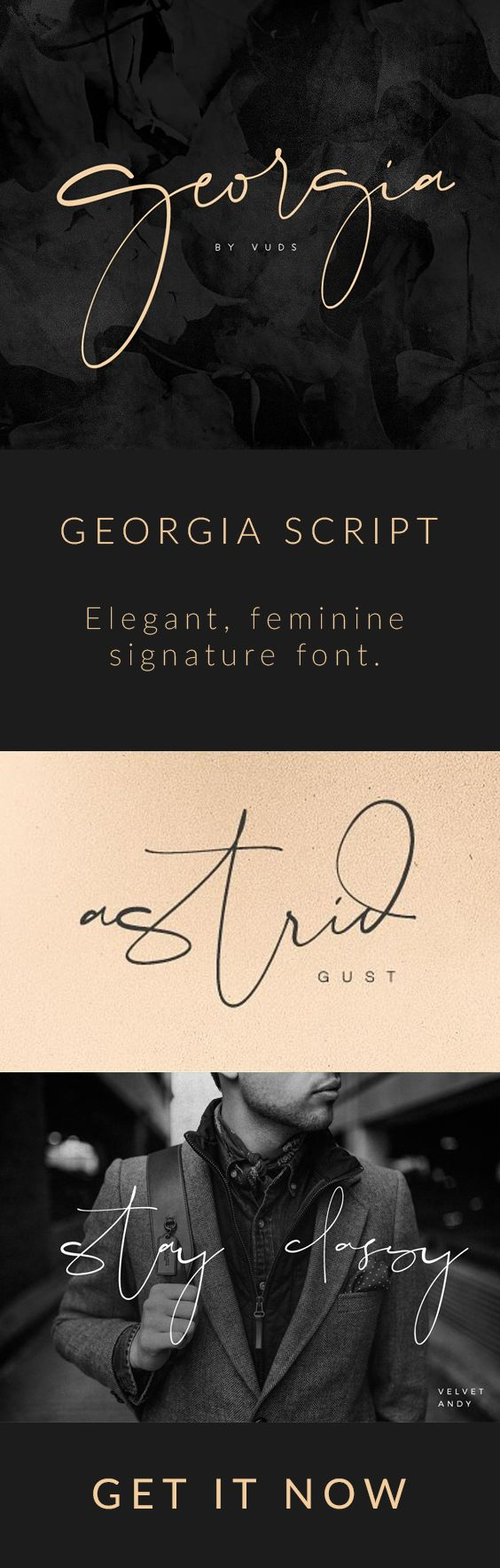 Georgia Script - Script Georgia Script - Script - 1 Georgia Script - Script - 2 Georgia Script - Script - 3 Georgia Script - Script - 4 Georgia Script - Script - 5 Georgia Script - Script - 6 Georgia Script - Script - 7 Georgia Script is modern feminine font, every single letters have been carefully crafted to make your text looks beautiful. With modern script logo, watermark, quotes, blog header, poster, wedding. #font #script #signature