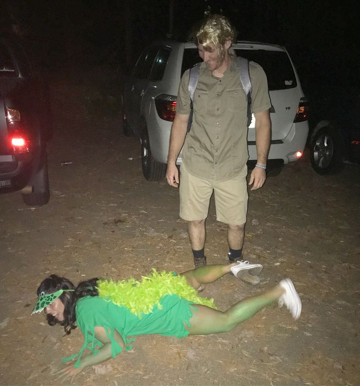 Steve Irwin and crocodile costume