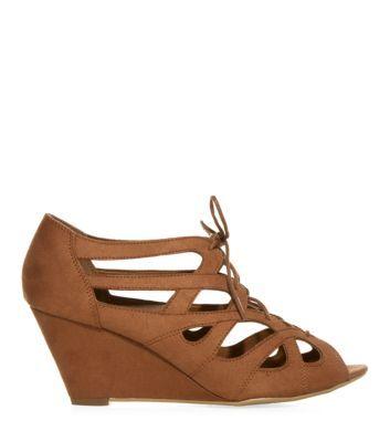 Tan Lattice Lace Up Wedge Sandals
