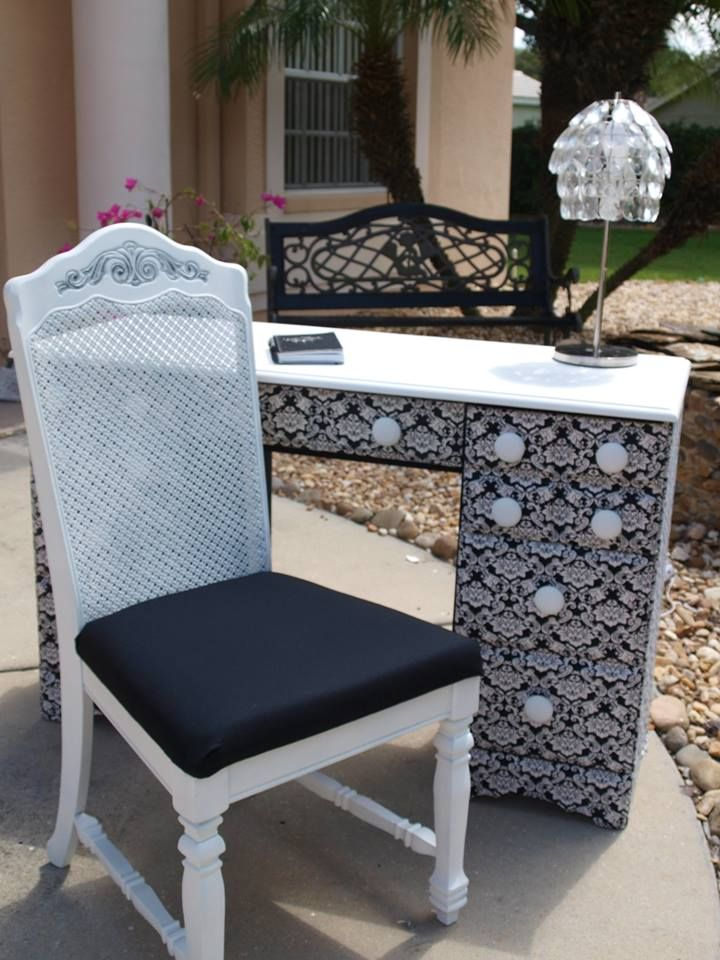 damask office accessories. Black And White Damask Desk Chair Set, Refinished In Annie Sloan Chalk Paint Office Accessories