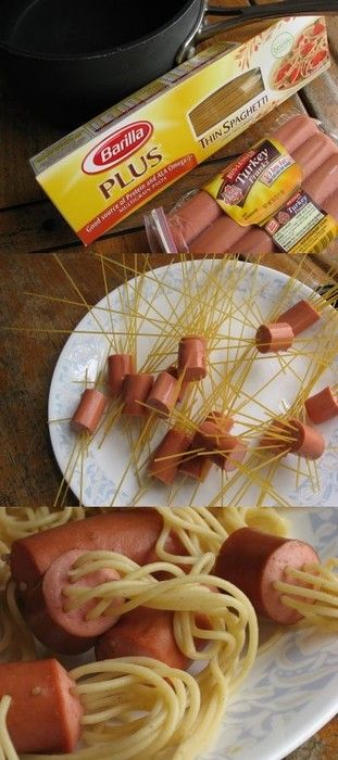Trouble getting your kids to eat? I bet they eat this.. LOL just stick uncooked spaghetti in cut up pieces of hot dog.. boil them together.. you could call it jelly fish? lol
