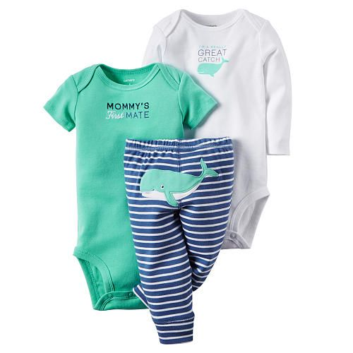 """Carter's Boys 3 Piece Blue """"Mommy's First Mate"""" Bodysuit, White Bodysuit and Striped Pant with Whale Applique Detail - Carters  - Babies""""R""""Us"""