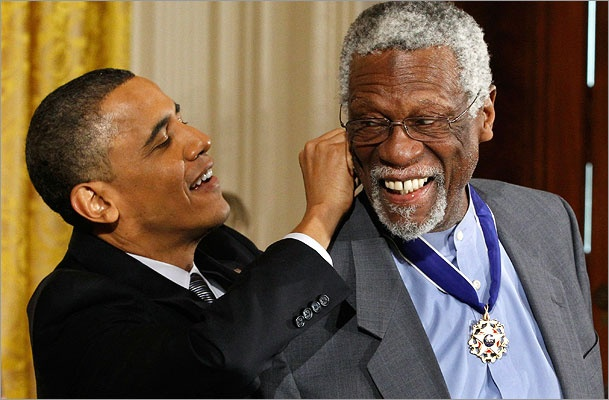President Obama clasped the Medal of Freedom to Bill Russell.