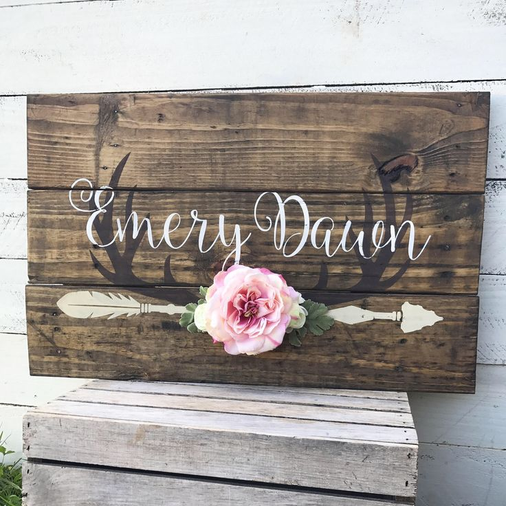 Rustic Large Nursery Baby Name Arrow and Antlers personalized reclaimed pallet wood sign little girl room boho flowers hand painted sign by WehuntWoodDecor on Etsy https://www.etsy.com/listing/491989107/rustic-large-nursery-baby-name-arrow-and