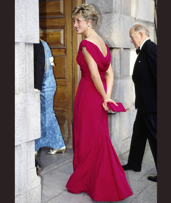 Diana looked elegant in a red dress by Victor Edelstein