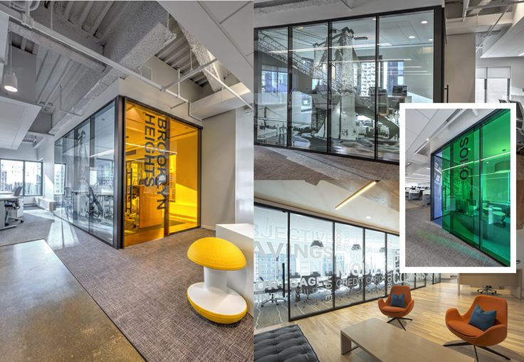 Bank Rate's new NYC office features walls designed by Infinium Wall Systems. Sleek with pops of bright color give this office space a modern look.