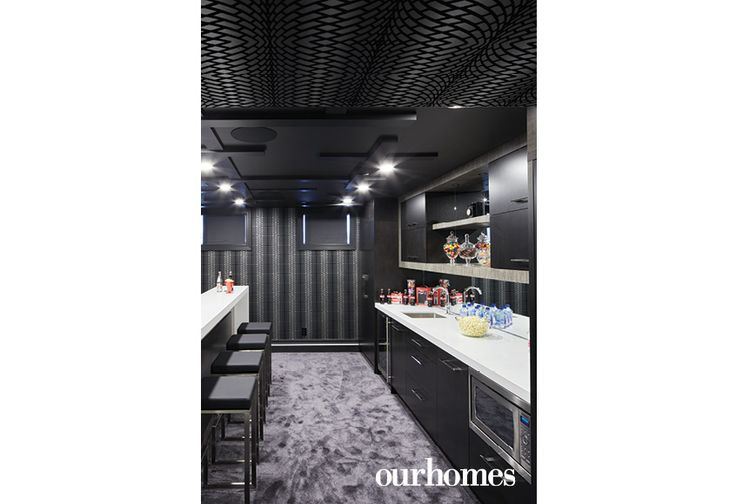 A bar area in the theatre room keeps everything close at hand. See more at http://www.ourhomes.ca/articles/build/article/dedicated-to-details