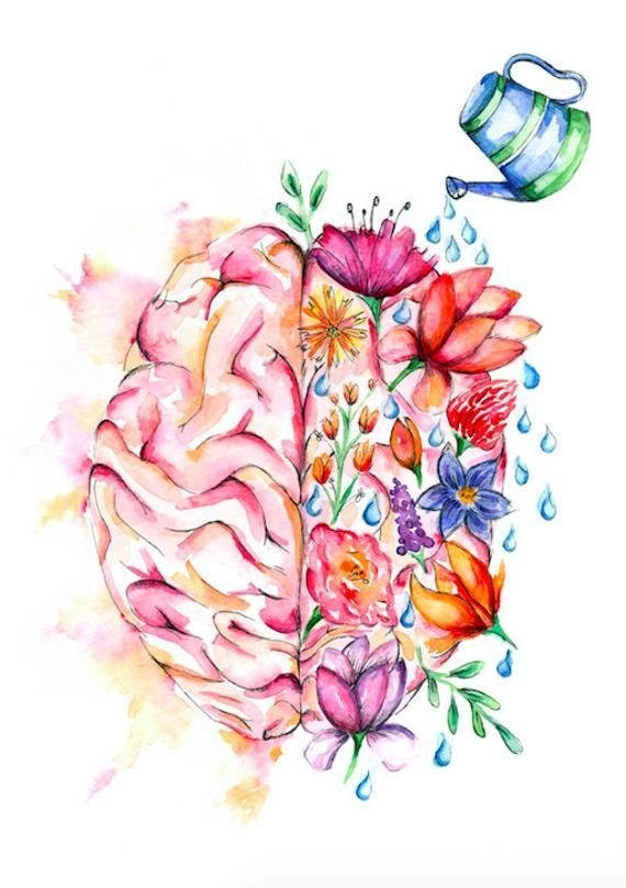 Anatomie Medicale Art Superbe Aquarelle Fleur Cerveau Etsy