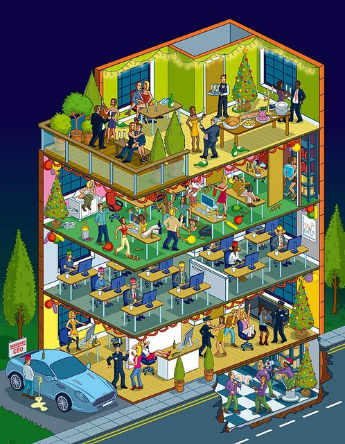 Office Christmas Party Illustration - isometric pixel art by Rod Hunt by Rod Hunt Illustration, via Flickr
