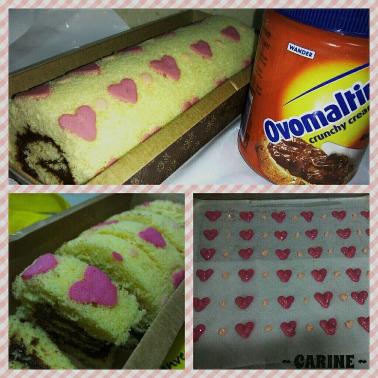 Ovomaltine Crunchy Cream Swiss Roll (With Heart Shape Pattern) !