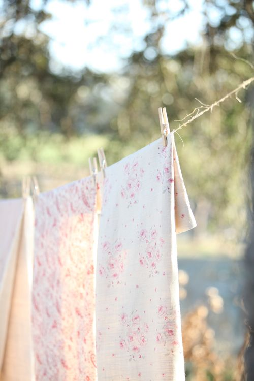 linens on the clothesline
