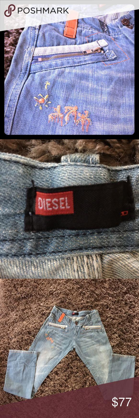 Unusual Deisel Jeans!!! Light blue wash. Embroidery. Color orange. Diesel jeans. Diesel Jeans Ankle & Cropped