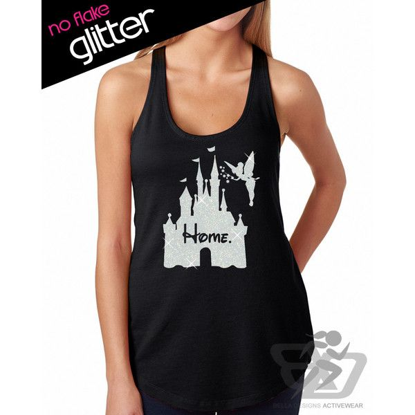 Glitter Disney Is My Home Tank Disneyland Shirt Disney Cinderella... ($22) ❤ liked on Polyvore featuring tops, grey, tanks, women's clothing, grey tank, summer tanks, glitter shirts, flat top and vinyl top