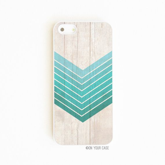 <3 | iPhone 5 Case / iPhone 5S Cases Wood Geometric Ombre in Teal