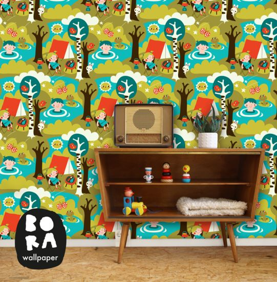#Behang Camping #kinderkamer   Bora Wallpaper via De Oude Speelkamer