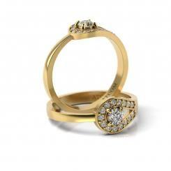 Inel de logodna cu diamante Pompiliu din aur galben