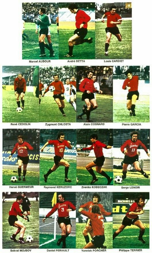 Stade Rennes team stickers for 1972.