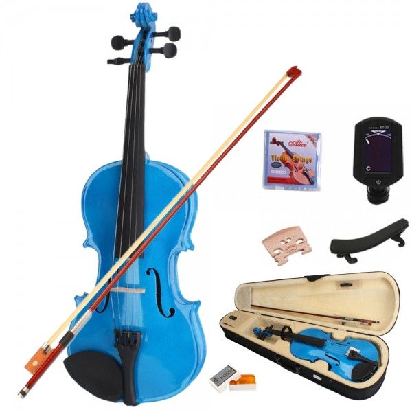 4/4 Dark Blue Acoustic Student Violin Outfit with Shoulder Rest Extra Strings Bridge Tuner