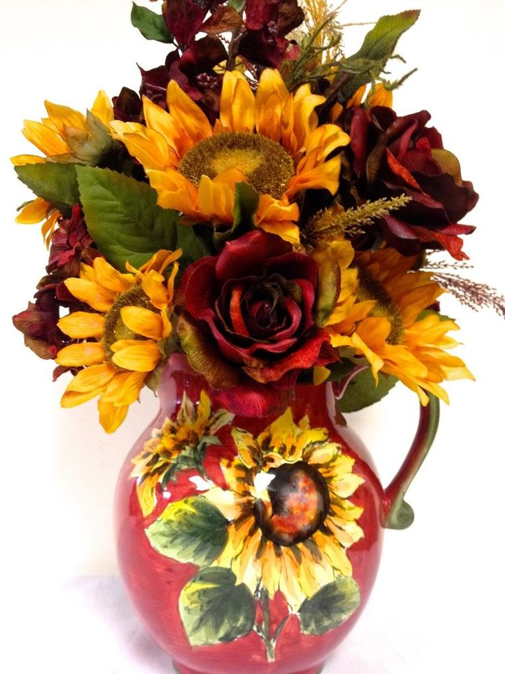 Tuscan Silk Sunflower Floral Arrangement Burgundy Red Yellow In Sunflower Vase Discover More