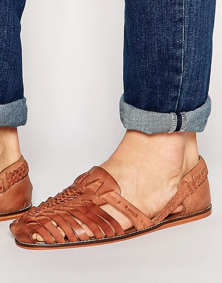 ASOS | ASOS Woven Sandals in Tan Leather at ASOS
