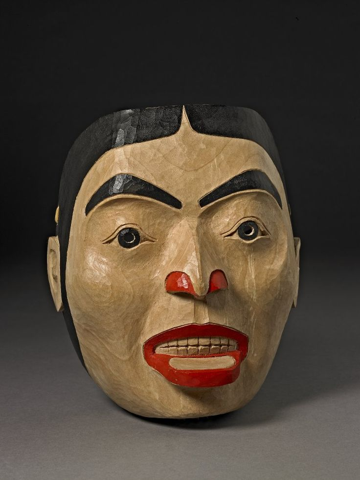 This mask is by Freda Diesing, one of the few women to carve masks on the Northwest Coast of Canada.