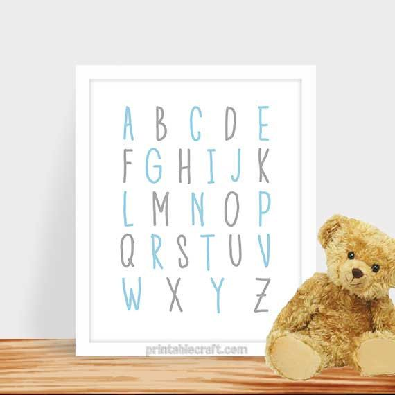 Alphabet art print children decor printable by PrintableCraft