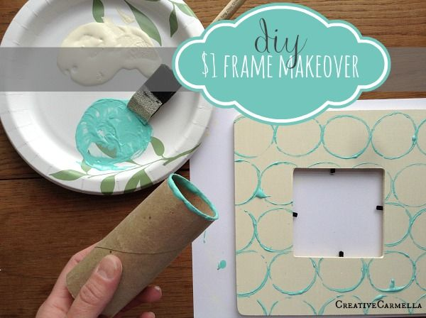 $1 Picture Frame Makeover (she: Carmella) - Or so she says... // upcycling toilet paper rolls // stamping with toilet paper rolls // upcycled stamps // homemade stamps //