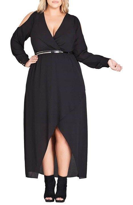 Plus Size Black Maxi Dress With Sleeves Plus Size Maxi Dresses
