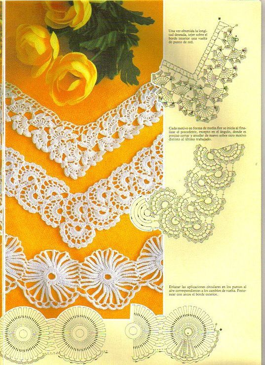 "Crochet Lace. Photos and diagrams ( not in English, but click in ant of the ""BLUE"" words and you will see photos and diagrams for the beautiful laces. Maybe Google Chrome could help translate."