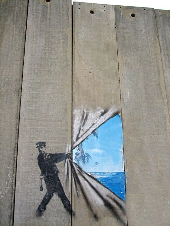 Banksy....I think this is a great idea for plain old wood paneling!...It would be great fun to do!