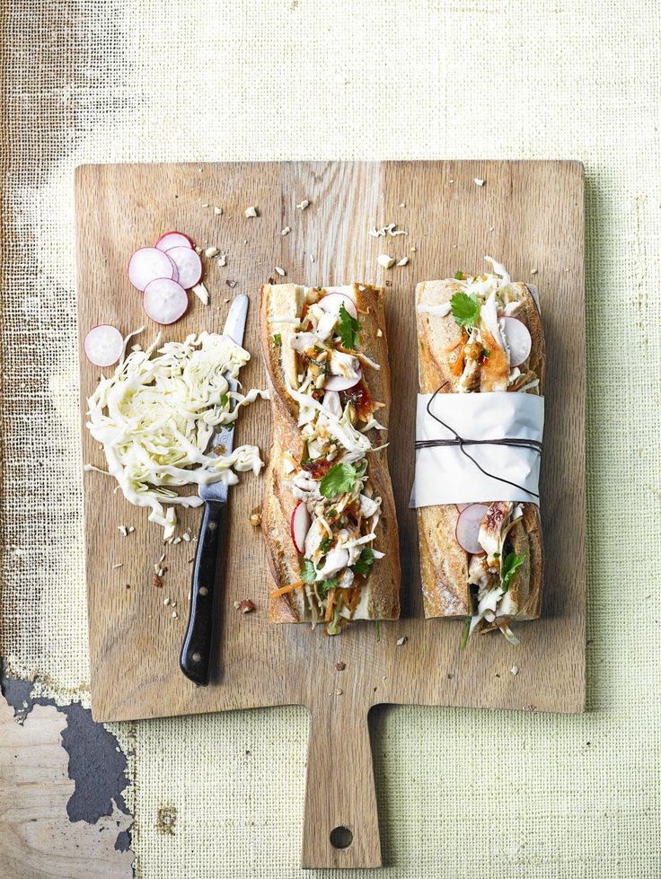 Chicken and slaw baguette with hazelnut dressing.