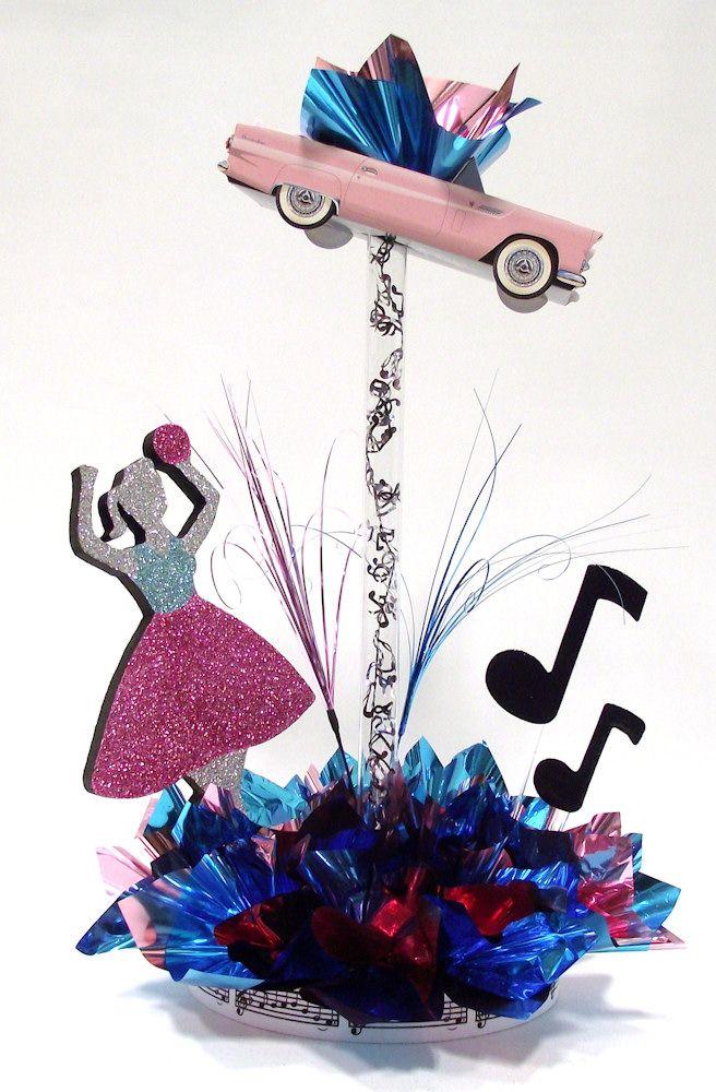 S Dance Centerpiece   Go Retro With A Sock Hop Girl, Pink T Bird And Rock  U0027nu2026