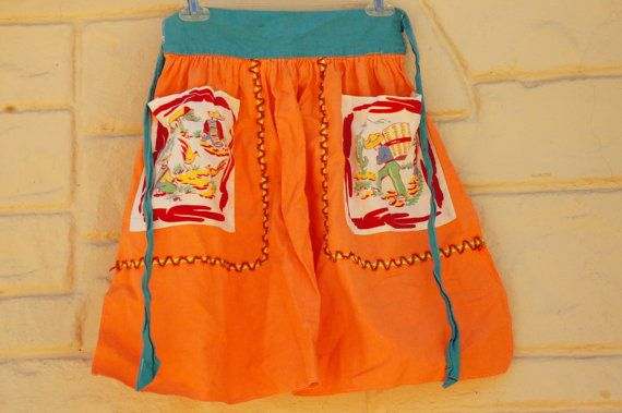 Vintage 40s-50s  Mexican Southwestern Apron by SycamoreVintage