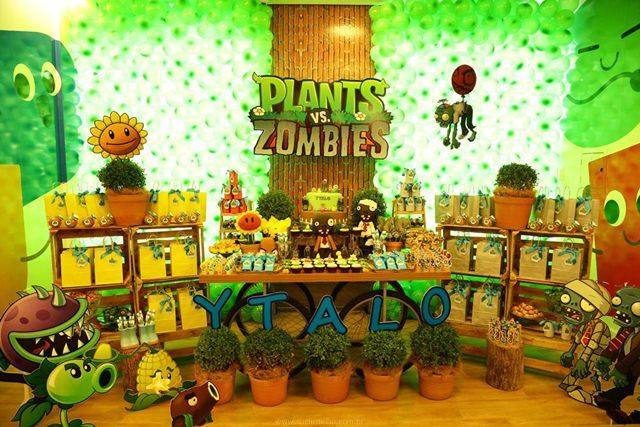 Decoração Zumbi ~ Plants vs Zombies Party Decor SC Eventos Festa Infantil Decor Pinterest Decoraç u00e3o