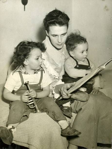 Carrington with her sons Gabriel, left, and Pablo, who were born in 1946 and 1947 respectively (© Estate of Leonora Carrington)