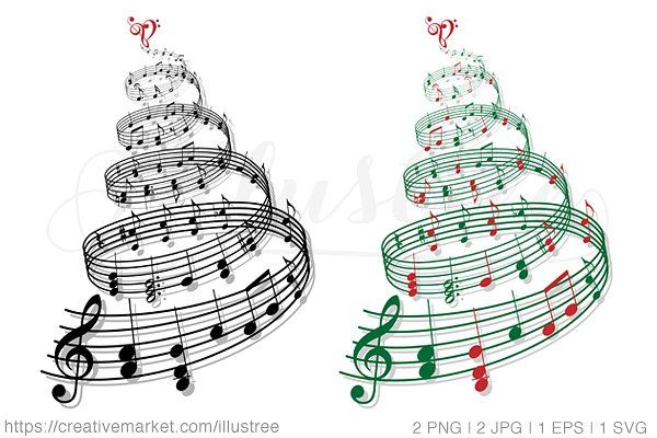 Christmas tree with music notes by Illustree on @creativemarket