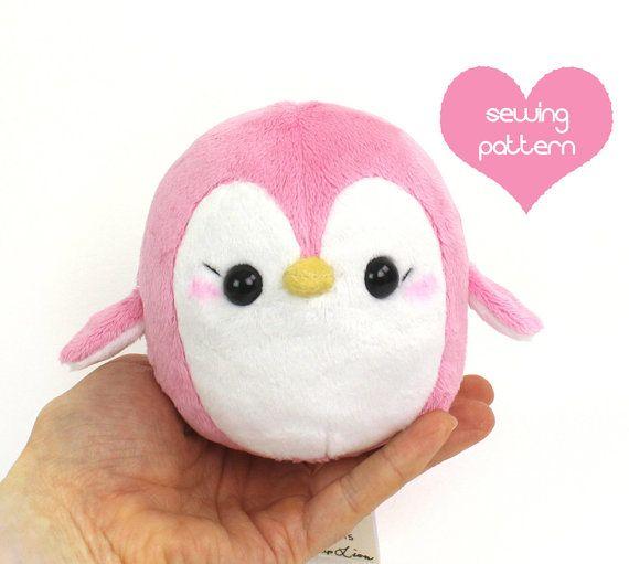 """Plush penguin sewing pattern - easy DIY stuffed animal plushie 4.5"""""""