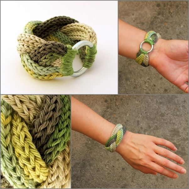 kötött - fonott karkötő zöld színátmenetes fonalból / knitted braided bracelet in green and gray