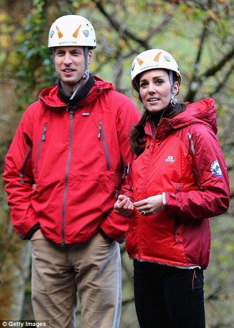 Prince William and Kate watch children on a zip-wire