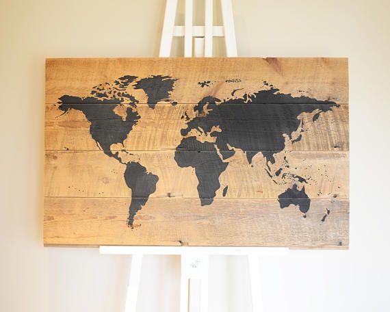 World map on barn board, hand painted home decor, reclaimed wood wall art, custom colour decor, map art,