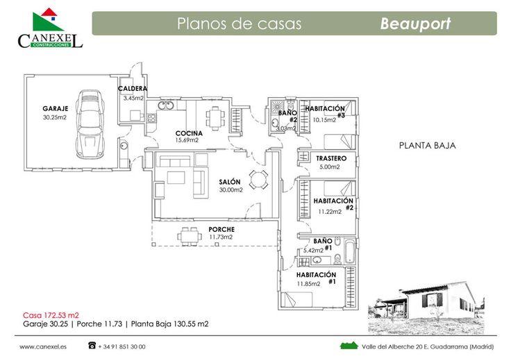 Vivienda Beauport - Casa de madera con revestimiento exterior de mortero con teja cerámica - Fotos exterior - Plano distribución 130m2