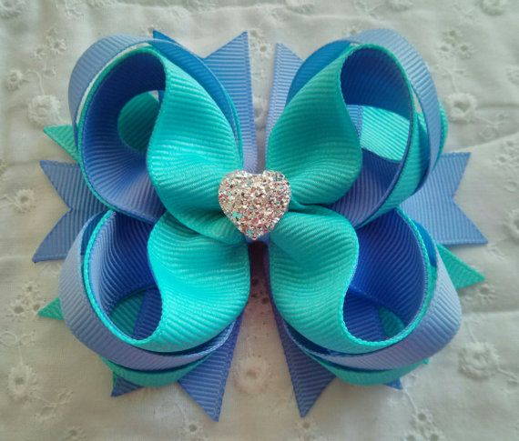 Island Blue & Iris Hair Bow with Sparkly Heart by GhinesCreations