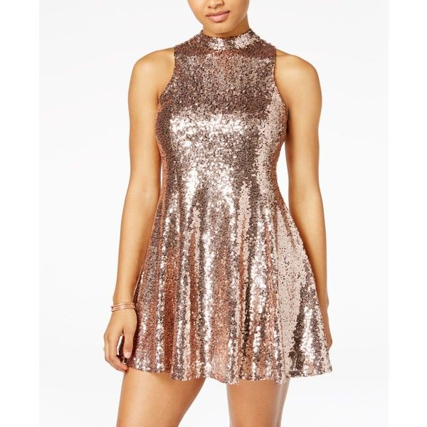The Edit by Seventeen Juniors' Sequined Open-Back Dress ($50) ❤ liked on Polyvore featuring dresses, gold, brown cocktail dress, brown sequin dress, cut out cocktail dress, short dresses and cut out dresses