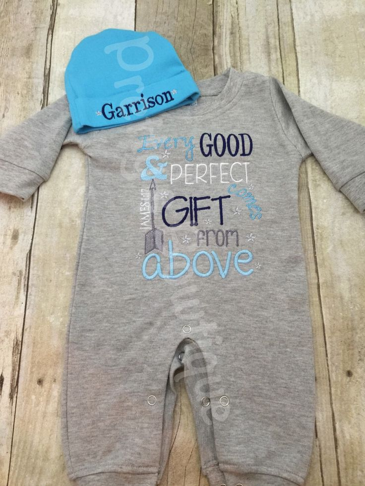 Baby Boy Coming Home Outfit -- Every good and perfect gift comes from above James 1:17 Romper & Hat with Embroidered Name by PrettysBowtique on Etsy https://www.etsy.com/listing/245457214/baby-boy-coming-home-outfit-every-good