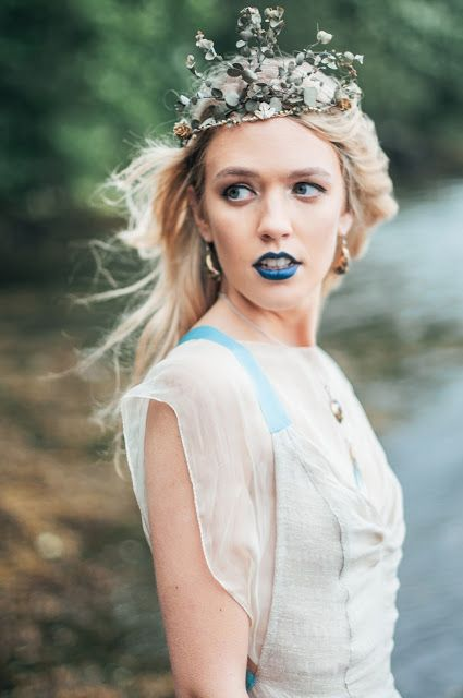 © Ayna O'Driscoll Photography, Styling/Couture/Crown: Alice Halliday https://www.etsy.com/listing/466585420/boho-wedding-dress-mermaid-wedding-dress. Jewellery: Colin Johnson http://www.colinjohnsonjewellery.ie/product-category/the-lough-hyne-collection/. Boho Bridal Inspiration, Lady of the Lake, Mermaid Style, Boho Bride, Blue lipstick, Bridal Crown, beach wedding